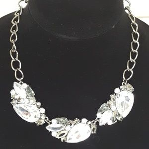 Costume Jewelry Faux Clear Crystal Necklace